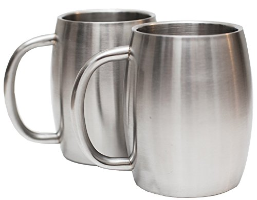 Stainless Steel Coffee Beer Tea Mugs - 14 Oz Double Walled Insulated - Set of 2 Avito - Best Value - BPA Free Healthy Choice - Shatterproof by Avito (Image #3)