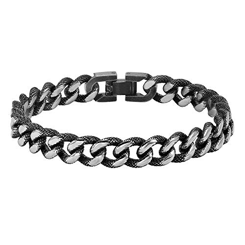 Brilliant Expressions Men's Fashion Stainless Steel Textured Chain Link Bracelet with Black Antique Finish, 9 inches