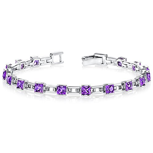 Amethyst Bracelet Sterling Silver Princess Cut 4.50 Carats