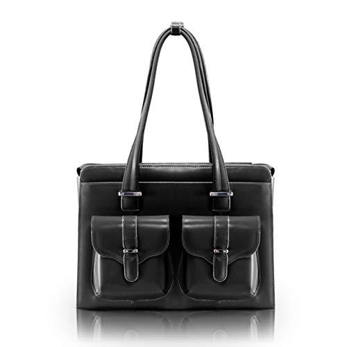 "Mcklein, W Series, Alexis, Top Grain Cowhide Leather, 14"" Leather Ladies' Laptop Briefcase, Black (96545)"