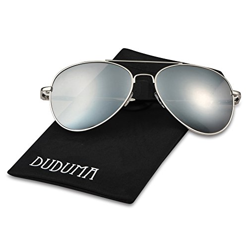 Duduma Premium Classic Aviator Sunglasses with Metal Frame Uv400 Protection (7802Silver frame, Silver mirror - Discounted Sunglasses