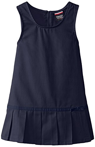 French Toast Big Girls' Pleated Hem Jumper with Ribbon, Navy, 10