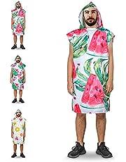 BTONGE Unisex handdoek-poncho, omtrekhulp, strand, microvezel, surfponcho, badponcho met capuchon, ultralicht, voor dames en heren, voor surfen, kamperen, sauna, snorkelen, strand