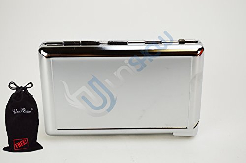 Unishow 4.25'' Stainless Steel Cigarette Case W/ Built-in Lighter W/ a FREE Velvet Unishow Pouch by UNISHOW®
