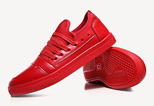 Aisun Mens Cool Casual Low Top Lace Up Flat Sneakers Shoes Red v3qt9