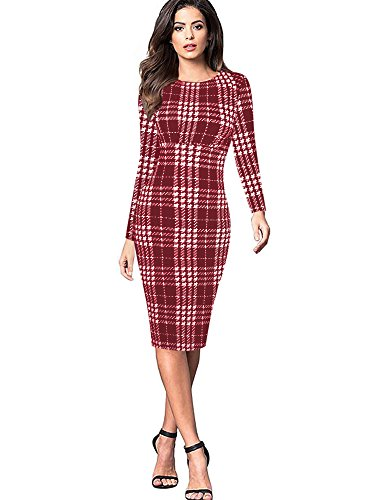 oxiuly Women's Classic Plaid Long Sleeve Slash Neck Work Business Dress Knee-Length Pencil Tights Dresses OX274 (XL, Red (Plaid Sheath)