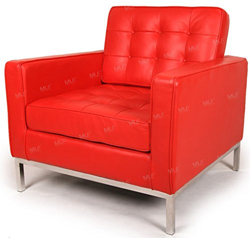 MLF Florence Knoll Style Sofa Armchair, Red Top Grain Aniline Leather
