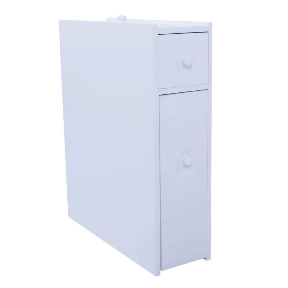 Bathroom Storage Wood Bathroom Rolling Floor Cabinet Wooden Floor Home Bath Toilet Organizer Floor Storage Cabinet with Drawers and Baskets, White (White)