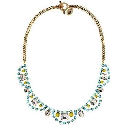 Juicy Couture Multi Rhinestone Bib Necklace Yellow and Blue
