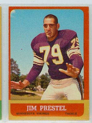 - 1963 Topps Football 108 Jim Prestel Excellent to Excellent Plus (5 1/2 out of 10) by Mickeys Cards