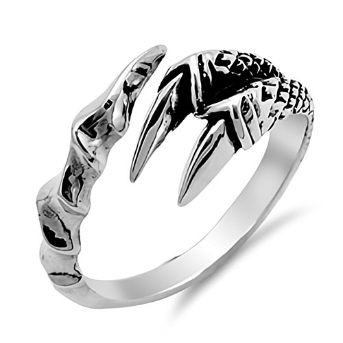 - Wraparound Classic Eagle Claw Sterling Silver Ring Size 6