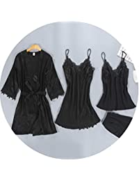 19d069e475 Sexy satins Silk 4-Piece Pajamas Sets Women Korea Texture Women Robes  Spaghetti Straps Pijamas