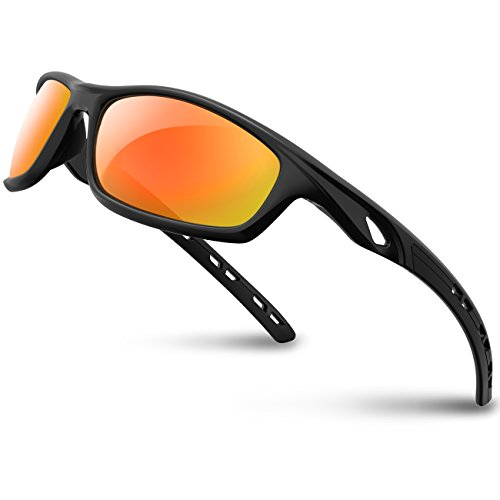 RIVBOS Polarized Sports Sunglasses Driving Sun Glasses shades for Men Women Tr 90 Unbreakable Frame for Cycling Baseball Running Rb833 833-black rainbow lens