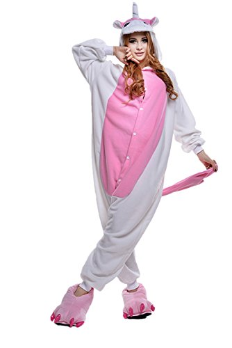 Newcosplay Halloween Pink Unicorn Cosplay Unisex-adult Costume Anime Pajamas (Medium)