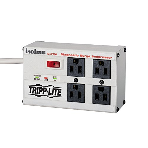 (Tripp Lite Isobar 4 Outlet Surge Protector Power Strip, 6ft Cord, Right-Angle Plug, Metal, Lifetime Limited Warranty & $50,000 INSURANCE (ISOBAR4ULTRA))