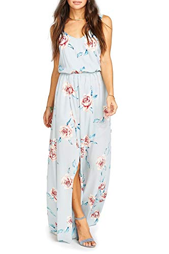 Show Me Your Mumu Kendall Maxi Dress for Women in Flower Hour Sky Blue, Large