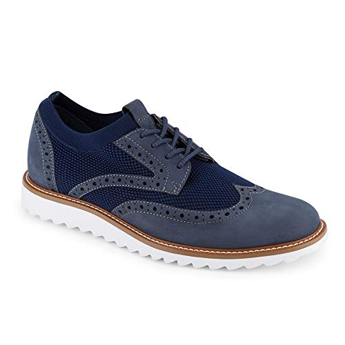 Dockers Mens Hawking Knit/Leather Smart Series Dress Casual Wingtip Oxford Shoe with NeverWet, Navy, 9.5 M - Casual Oxford Mens Shoes