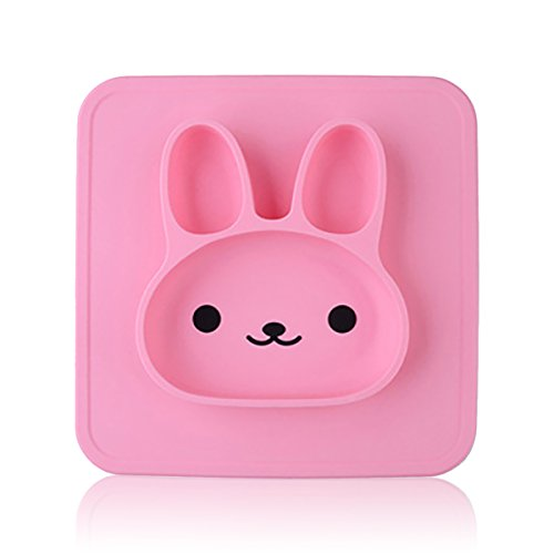 Yii Lovely Bunny Style Silicone Baby Placemat with Suction Divided Kids Plates& Bowl 2-in-1 for Restaurant Dining Mats for Kids Microwave Safe Toddler Plates, Reusable BPA Free Dishwasher Safe, Pink