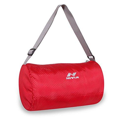 NIVIA Basic Duffle Gym Bag  Red Grey