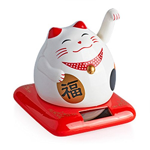 Giftman Beautiful White Solar Powered Maneki Neko Beckoning Lucky Money Cat 79112 by Giftman