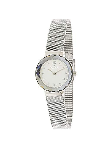 (Skagen Women's Silvertone Faceted Glass Bezel Watch)