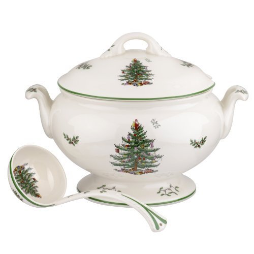 Spode Christmas Tree 75th Anniversary Footed Tureen and Ladle by Spode