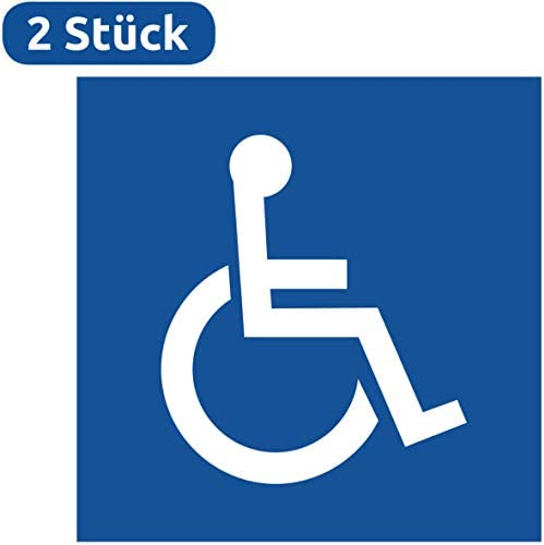 Rollstuhlfahrer Aufkleber 2 Stück Rollstuhlfahrer Gehbehinderung 105x105 Mm Für Rollstuhl Rolli Fahrzeuge Transporter 10 X 10 Behinderten Aufkleber Rolli Aufkleber Rollstuhl Rollstuhlfahrer Baumarkt