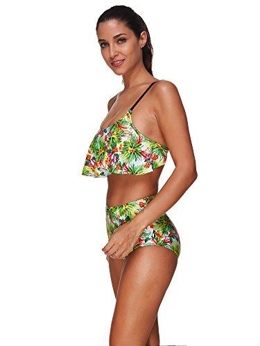 Baron Hong de las mujeres de dos piezas traje de baño traje de baño atractivo del bikini turquesa volantes color2