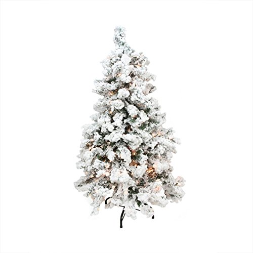 Northlight  Pre-Lit Heavily Flocked Pine Medium Artificial Christmas Tree with Clear Lights, - Tree Lit Christmas Flocked Pre