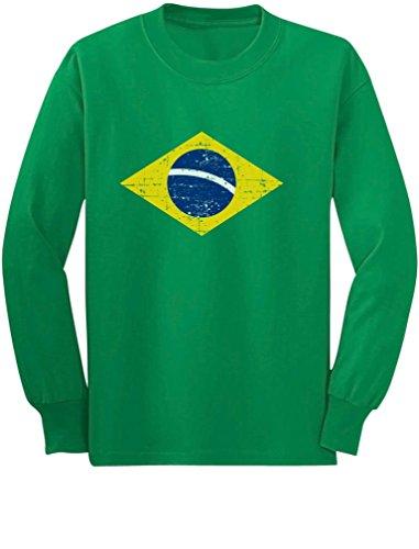 Vintage Brazil Flag Retro Style Brazilian Youth Kids Long Sleeve T-Shirt Medium (Brazil Soccer Youth T-shirt)