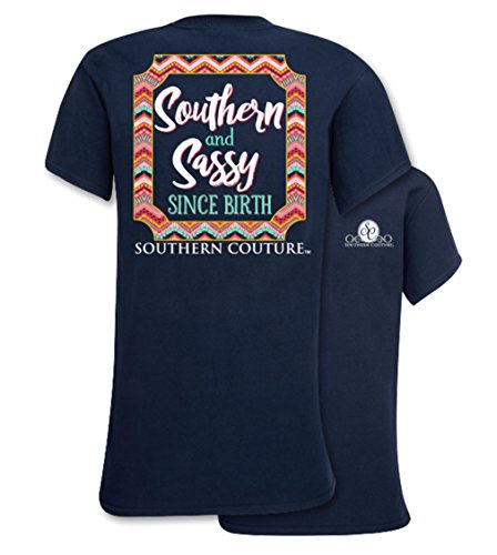 Southern Couture SC Classic Southern & Sassy Since Birth Womens Classic Fit T-Shirt – Navy, X-Large