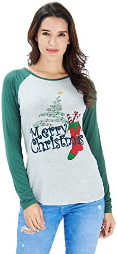Idgreatim Women Christmas Print Long Sleeve T Shirt Casual Crew Neck Holiday Party Blouse Tops