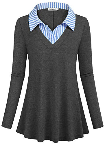 Womens Contrast Stitch Lightweight Jacket - Nandashe Dressy Blouse for Women Business Casual Clothes for Women Formal Shirts Professional Stretchable Trapeze Slim Fit Cute Tops High Flexibility Loose Fitted Flattering Swing Tunic Dark Grey L