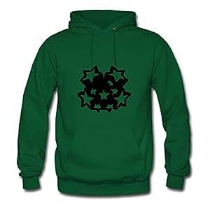 Popular Designed Green Women Stars Printed Sweatshirts X-large