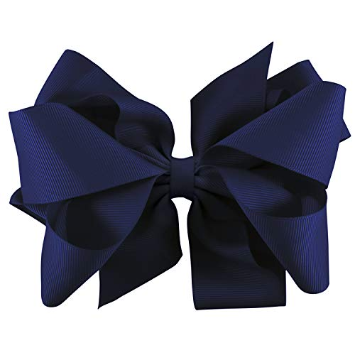 Extra Large Bow Clip and Headband for Newborns, Baby Headbands, and Little Girls by Zelda Matilda,Navy,0 month - 12 Years