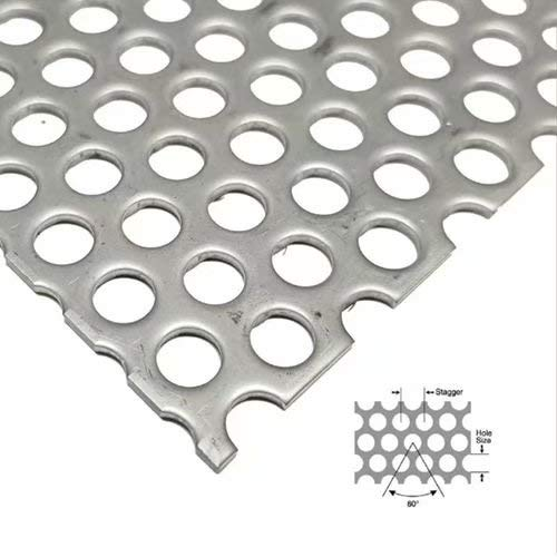 "1//4/"" HOLES--18 GA 304 STAINLESS STEEL PERFORATED SHEET 12/"" X 24/"""