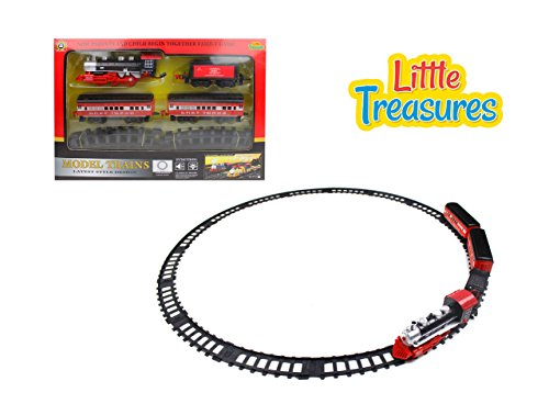 Basic Fun Trains - Little Treasures Steam Locomotive Train Set with Light and Sound Watch Your Little Munching Play and Have Fun with this Exclusive Train Set Good Gift Idea for All Kids