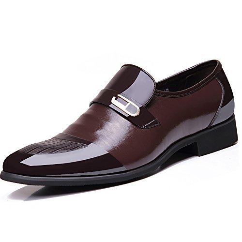 OUOUVALLEY Mens Patent Leather Tuxedo Dress Shoes Lace up Pointed Toe Oxfords 1866 Brown 10.5D(M) US by OUOUVALLEY