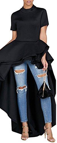(Kearia Women Ruffle High Low Asymmetrical Turtleneck Short Sleeves Tops Blouse Shirt Dress Black Medium)