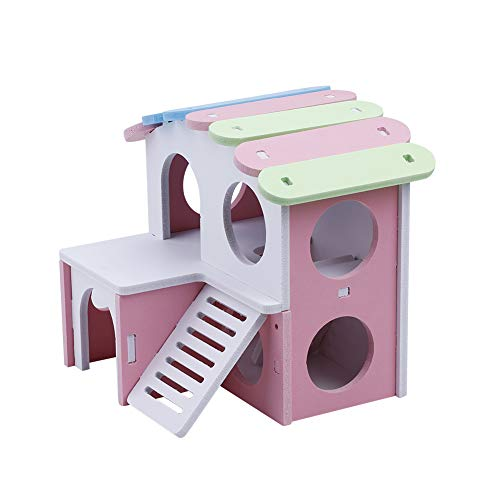 HEEPDD Wooden Hamster House Hut with Stair Exercise Toys Hideout Villa Fun Gym Playground for Hamsters Squirrels Gerbils Golden Bears Small Animals