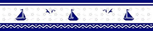Bedding Baby Border (Navy Blue Nautical Explorert Geenny Peel & Stick Vinyl Wall Border 6 in. x 15 ft per roll)