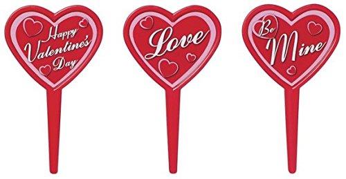 Valentine's Day Heart Message Cupcake Picks - 24 (Sale Valentine Hearts)