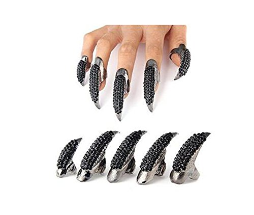 - Set of 5 Punk Style Eagle Claw Ring Gothic Jewelry False Nail Retro Clear Crystal Talon Finger Ring Knuckle Bend Fingertip Claw for Cosplay Paty (black)