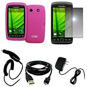 EMPIRE Hot Pink Silicone Skin Case Cover + Mirror Screen Protector + Car Charger (CLA) + Home Wall Charger + USB Data Cable for BlackBerry Torch 9860