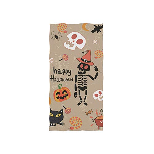 Fuiyi Miyi Fade-Resistant Polyester Hand Towels Happy Halloween Clip Art Cartoon Set Vector Image Highly Absorbent Durable Antibacterial Reusable Towel ()