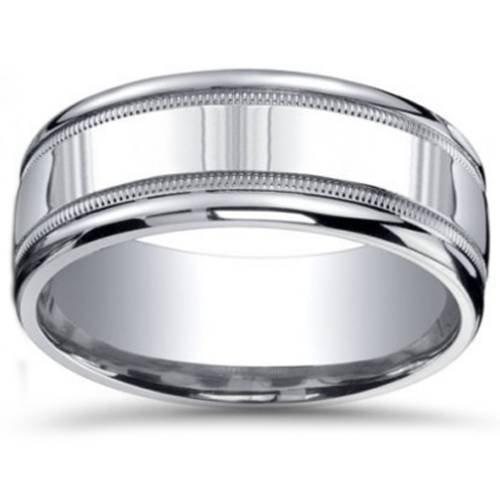 9mm Milgrain Mens Wedding Band 10K White Gold - Size 9.5