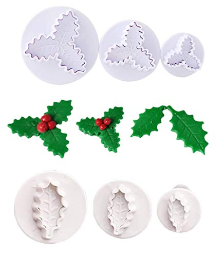 Tangker 6pcs/Set Christmas Cookie Cutter Holly Leaves Cookie Cutter Buscuit Plunger Stamp Cutter Holly Leaf Pastry Cake Fondant Sugar Craft Decorating Baking Tools