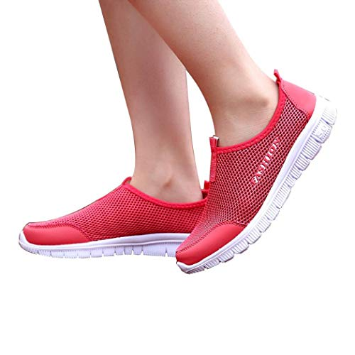 HTHJSCO Women's Lightweight Casual Walking Athletic Shoes Breathable Mesh Shoes Walking Outdoor Sport Shoes (36, Red) (Bongo Sandals Womens)