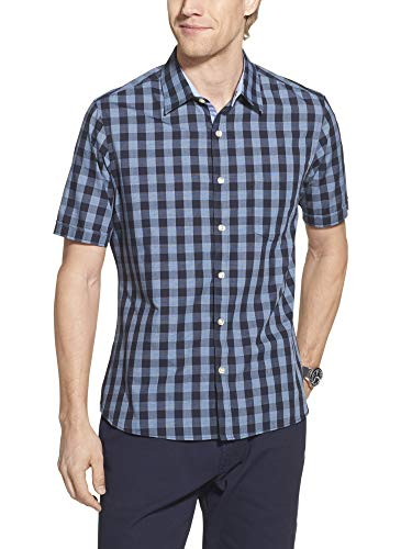 Geoffrey Beene Men's Slim Fit Easy Care Short Sleeve Button Down Shirt, Sea Navy Check Print, X-Large
