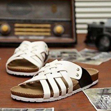 Zapatos de hombre casual sandalias de piel sintética azul/blanco Blanco